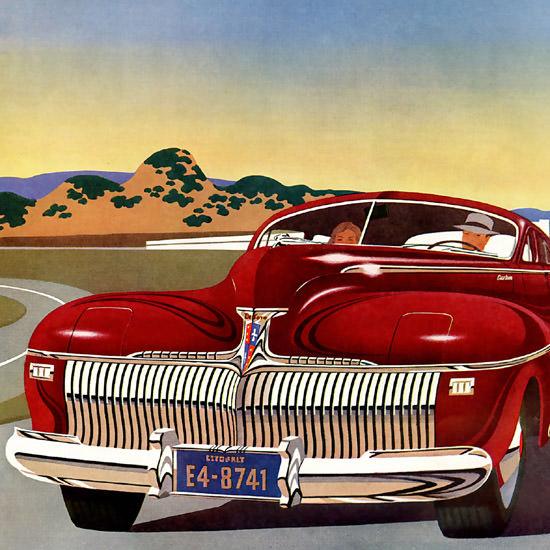 Detail Of DeSoto Smartest Fluid Drive Red 1942 | Best of Vintage Ad Art 1891-1970
