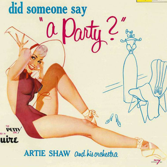 Detail Of Decca LP Cover Did somone say a Party George Petty 1956 | Best of Vintage Ad Art 1891-1970