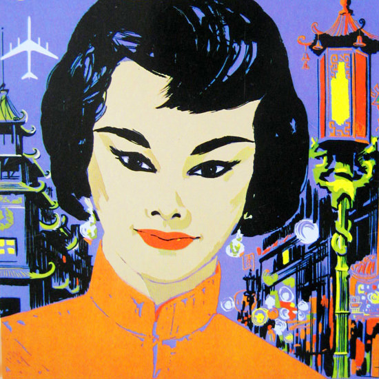 Detail Of Delta Air Lines San Francisco China Town 1960s | Best of Vintage Ad Art 1891-1970