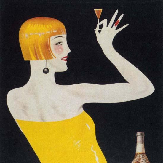 Detail Of Denis-Mounie Gold Leaf Weinbrand Austria | Best of Vintage Ad Art 1891-1970