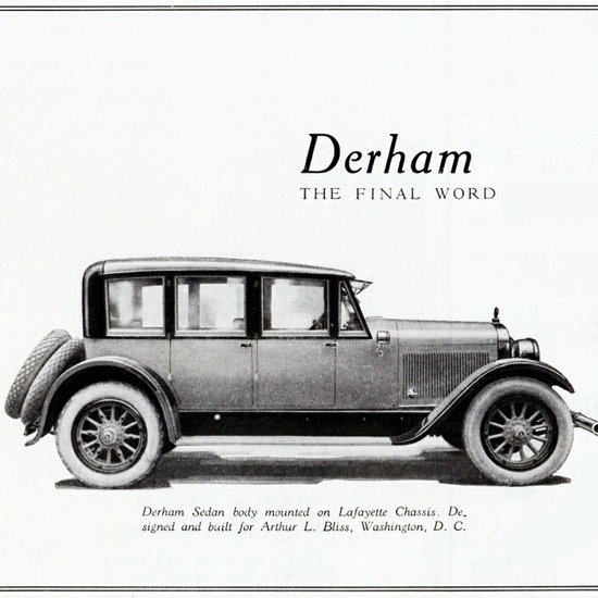 Detail Of Derham Custom 1922 Body On Lafayette Chassis | Best of Vintage Ad Art 1891-1970