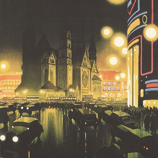 Detail Of Deutschland Berlin By Night Germany | Best of Vintage Ad Art 1891-1970