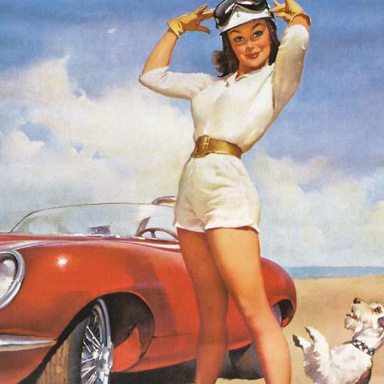 Detail Of Ditzler Automotive Finishes Girl Dog 1960s | Best of Vintage Ad Art 1891-1970
