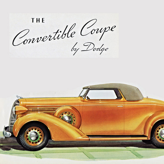 Detail Of Dodge Convertible Coupe 1936 | Best of Vintage Ad Art 1891-1970