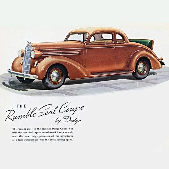 Detail Of Dodge Rumble Seat Coupe 1936 | Best of Vintage Ad Art 1891-1970