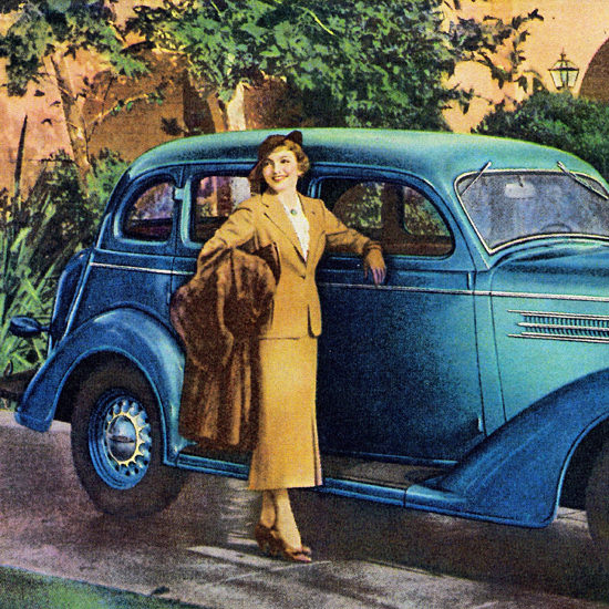 Detail Of Dodge Touring Sedan 1936 Claudette Colbert | Best of Vintage Ad Art 1891-1970