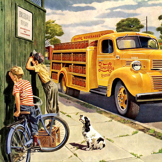 Detail Of Dodge Trucks Pepsi-Cola Fit The Job 1947 | Best of 1940s Ad and Cover Art