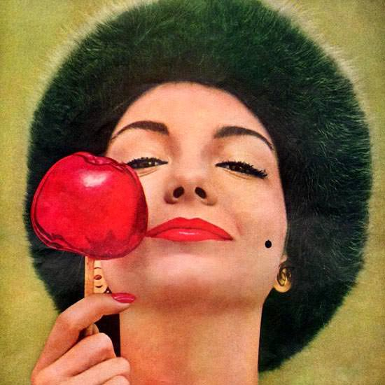 Detail Of Dorothy Gray Apple On A Stick Girl 1958 | Best of Vintage Ad Art 1891-1970