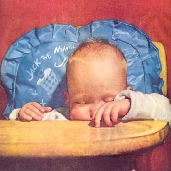 Detail Of Douglas DC-7 Sleeping Baby In A Chair 1955 | Best of Vintage Ad Art 1891-1970