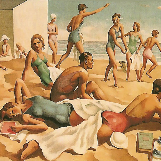 Detail Of East Coast Beach Quicker By Rail | Best of Vintage Ad Art 1891-1970