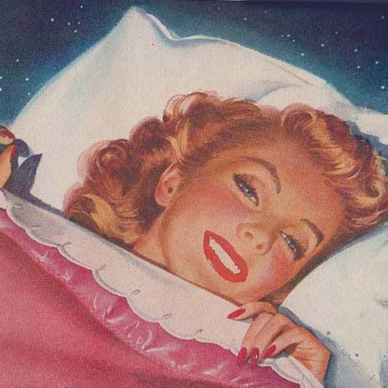 Detail Of Electronic Blanket Bed Girl | Best of Vintage Ad Art 1891-1970