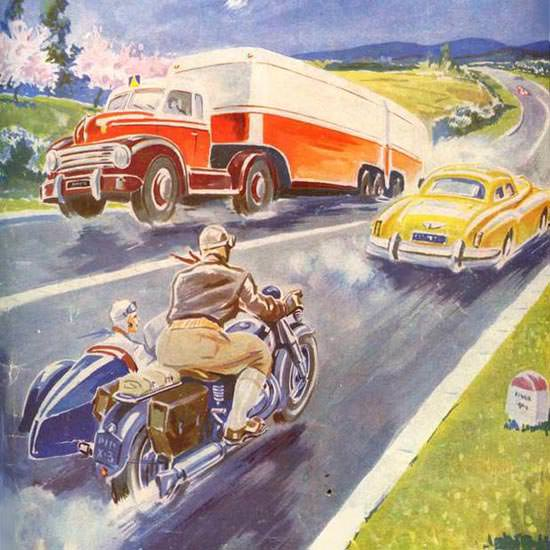 Detail Of Englebert Magazine 1951 Sidecar | Best of Vintage Ad Art 1891-1970