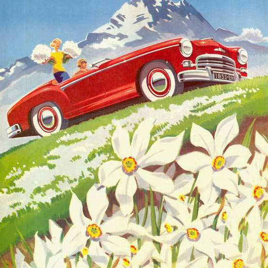 Detail Of Englebert Magazine 1953 In The Alps | Best of Vintage Ad Art 1891-1970