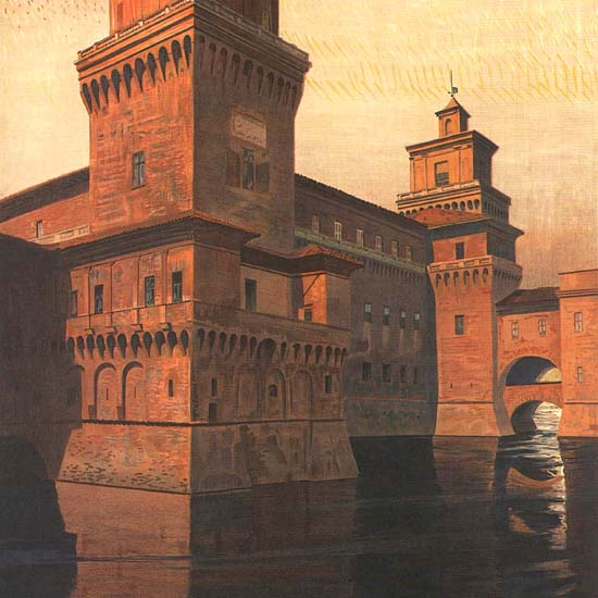 Detail Of Ferrara Castle Italy Italia | Best of Vintage Ad Art 1891-1970