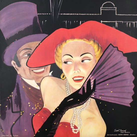 Detail Of Fetes De Geneve Suisse Aout 1950 Geneva | Best of Vintage Ad Art 1891-1970
