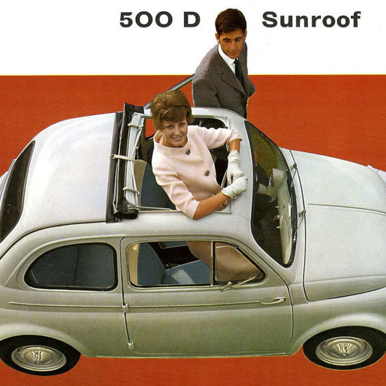 Detail Of Fiat 500 D Sunroof 1955 | Best of Vintage Ad Art 1891-1970