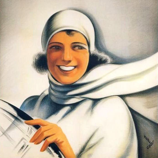 Detail Of Fiat Girl 1928 Mario Gros | Best of Vintage Ad Art 1891-1970