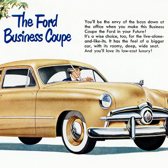 Detail Of Ford Business Coupe 1949 Sidewall Tires | Best of Vintage Ad Art 1891-1970