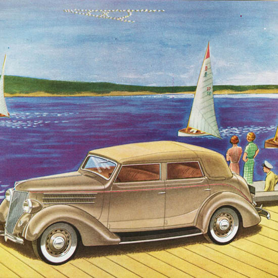 Detail Of Ford Convertible Sedan 1936 | Best of Vintage Ad Art 1891-1970