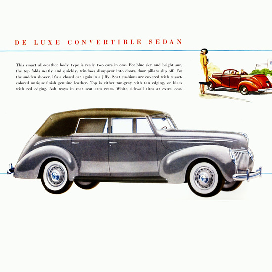 Detail Of Ford De Luxe Convertible Sedan 1939 B | Best of Vintage Ad Art 1891-1970