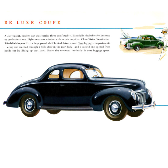 Detail Of Ford De Luxe Coupe 1939 Two Luggage B | Best of Vintage Ad Art 1891-1970