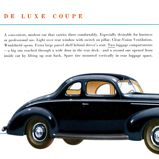 Detail Of Ford De Luxe Coupe 1939 Two Luggage | Best of 1930s Ad and Cover Art
