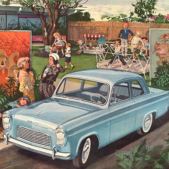 Detail Of Ford English Line Blue | Best of Vintage Ad Art 1891-1970