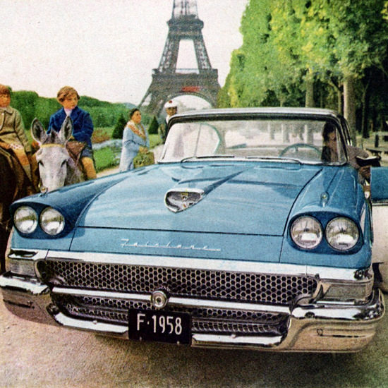 Detail Of Ford Fairlane 500 Town Victoria 1958 Paris | Best of Vintage Ad Art 1891-1970