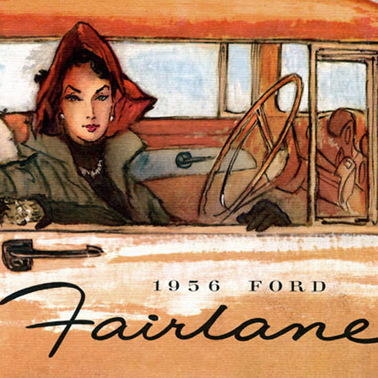 Detail Of Ford Fairlane Lady 1956 | Best of Vintage Ad Art 1891-1970