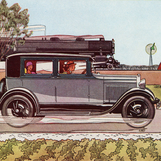Detail Of Ford Fordor Sedan 1929 Day By Day Record | Best of 1920s Ad and Cover Art