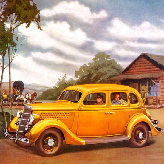 Detail Of Ford Fordor Sedan 1935 | Best of 1930s Ad and Cover Art