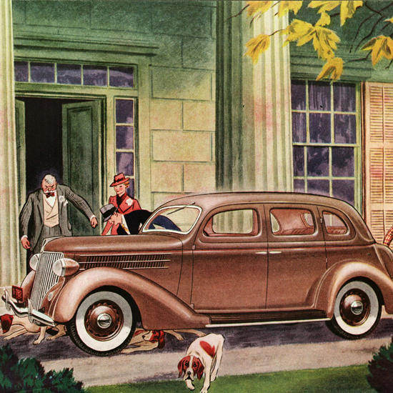Detail Of Ford Fordor Touring Sedan 1936 | Best of Vintage Ad Art 1891-1970