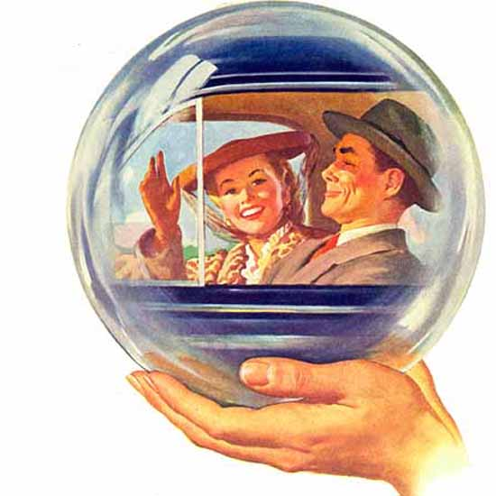 Detail Of Ford In Your Future Crystal Ball Couple 1945 | Best of 1940s Ad and Cover Art