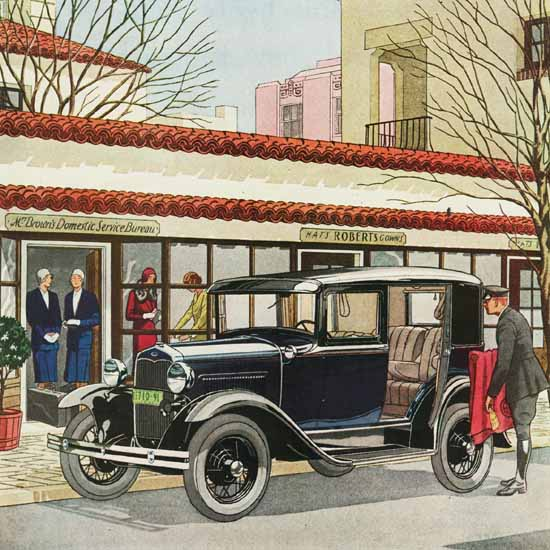 Detail Of Ford Model A De Luxe Sedan 1931 | Best of Vintage Ad Art 1891-1970