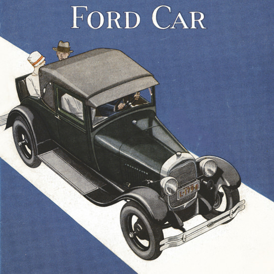 Detail Of Ford Model A Sport Coupe The Story Of 1928 | Best of Vintage Ad Art 1891-1970