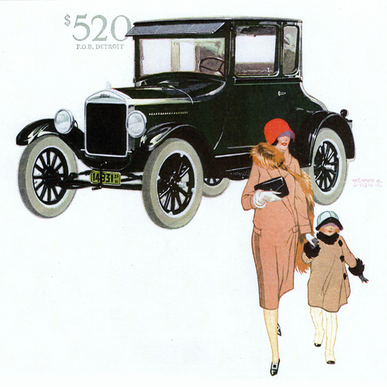 Detail Of Ford Model T Coupe Detroit 1926 by Floyd C Brink | Best of Vintage Ad Art 1891-1970