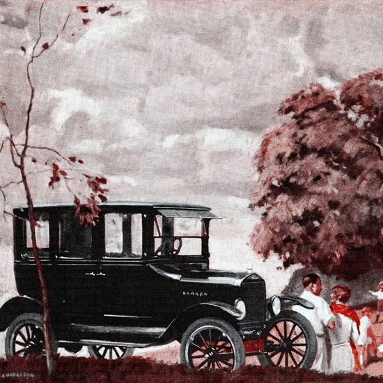 Detail Of Ford Model T Fordor Detroit 1925 | Best of Vintage Ad Art 1891-1970