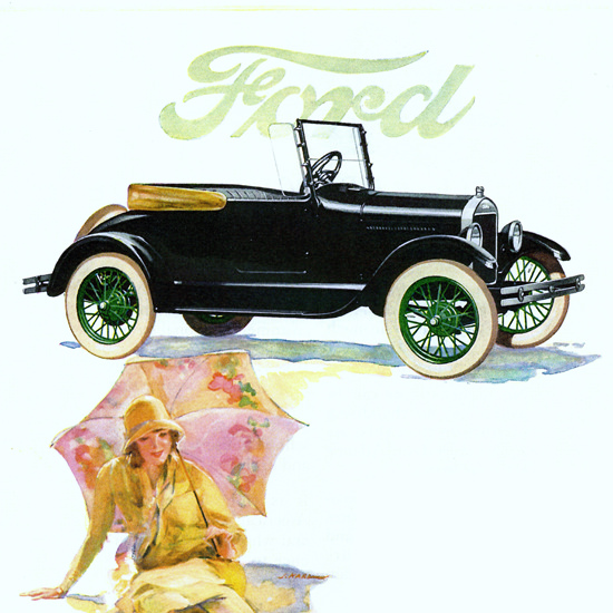 Detail Of Ford Model T Runabout Detroit 1926 | Best of 1920s Ad and Cover Art