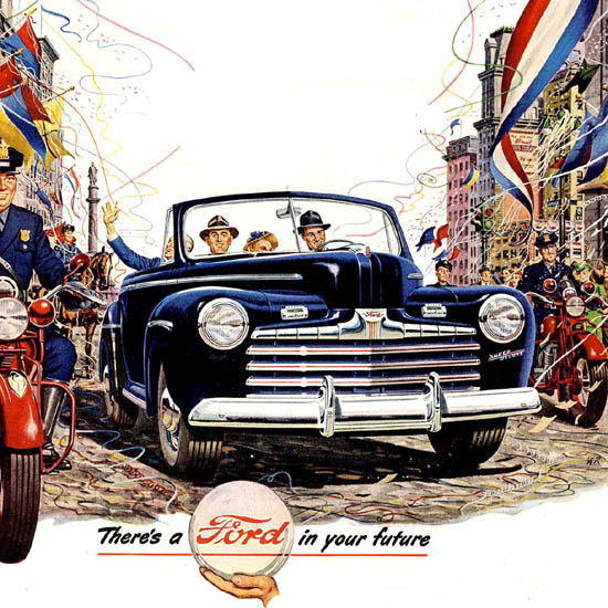 Detail Of Ford Out Front Lifeguard Body Blue   Best of Vintage Ad Art 1891-1970