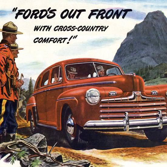 Detail Of Ford Out Front Mounties 1946 Red | Best of 1940s Ad and Cover Art
