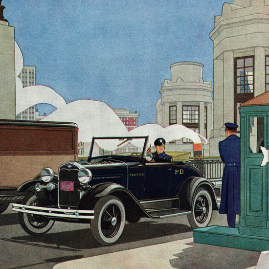 Detail Of Ford Roadster 1931 The Arm Of The Law | Best of Vintage Ad Art 1891-1970