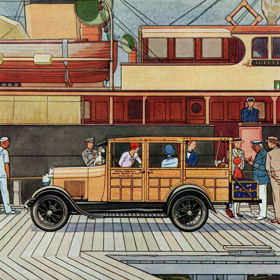 Detail Of Ford Station Wagon Detroit 1929 | Best of 1920s Ad and Cover Art
