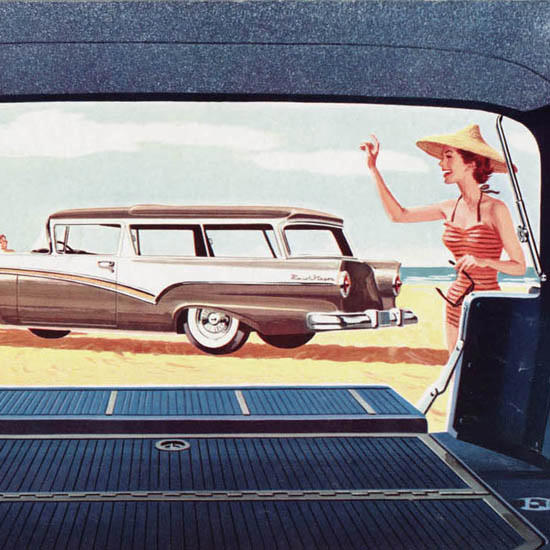 Detail Of Ford Station Wagons 1957 Beach | Best of Vintage Ad Art 1891-1970