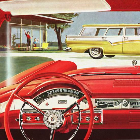 Detail Of Ford Station Wagons 1957 Goodbye | Best of Vintage Ad Art 1891-1970