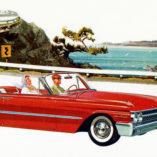 Detail Of Ford Sunliner 1961 Coastal Highway | Best of Vintage Ad Art 1891-1970