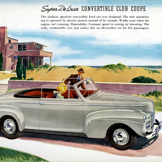 Detail Of Ford Super De Luxe Convertible Club 1941   Best of Vintage Ad Art 1891-1970