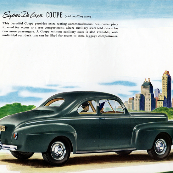 Detail Of Ford Super De Luxe Coupe 1941 | Best of Vintage Ad Art 1891-1970