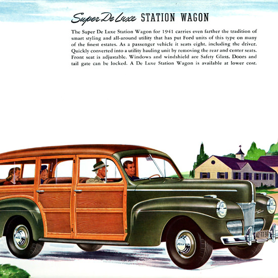 Detail Of Ford Super De Luxe Station Wagon 1941 | Best of Vintage Ad Art 1891-1970