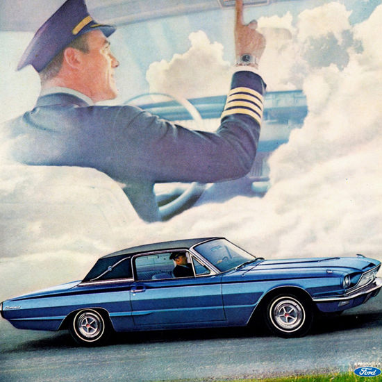 Detail Of Ford Thunderbird Town Landau 1966 Overhead | Best of Vintage Ad Art 1891-1970