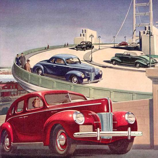 Detail Of Ford V-8 Models 1940 | Best of 1940s Ad and Cover Art